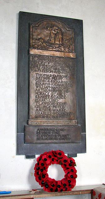 St Peter's church in Blaxhall - war memorial