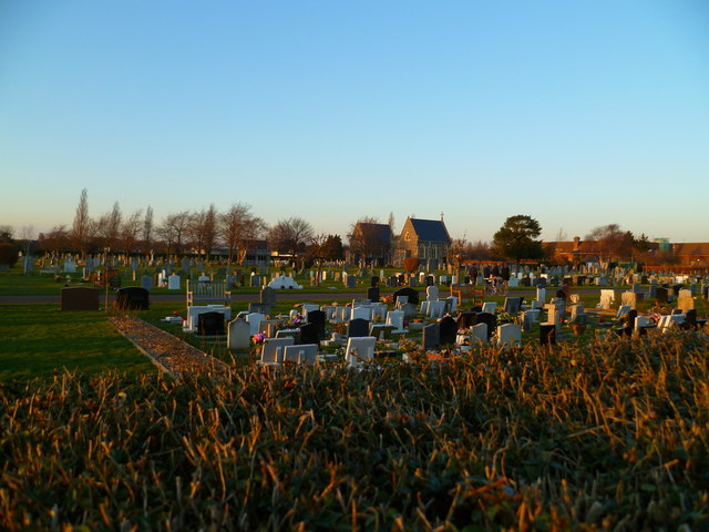 Looking over the cemetery hedge
