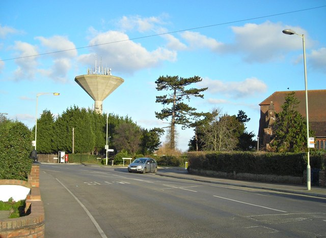 Water tower and St. Bartholomew's Church, Mickleburgh Hill
