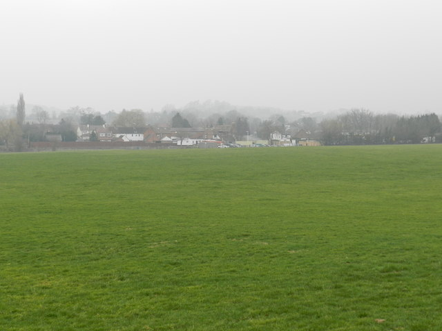 View of Hanbury, misty morning