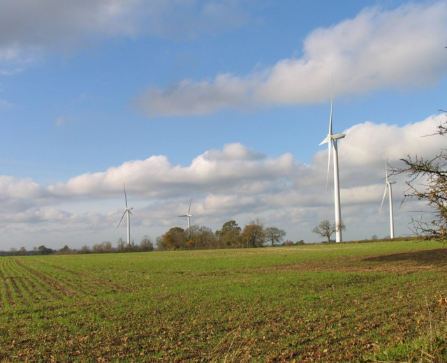 Wind turbines near to Gilmorton