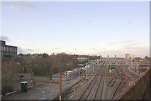 SP8633 : Bletchley Station from the Bletchley Flyover by Roger Templeman