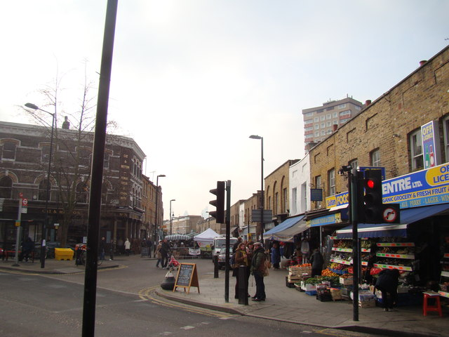 View down Broadway Market from Westgate Street