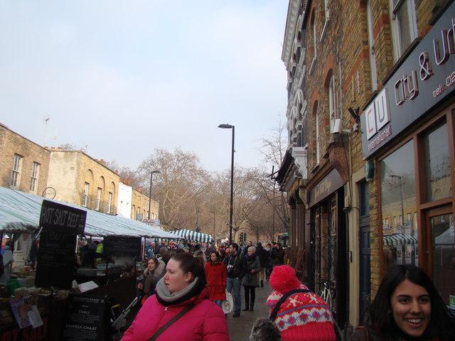 View of London Fields from Broadway Market