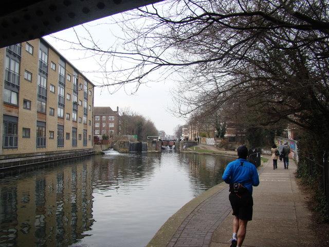 View of Haggerston Lock from under the Goldsmith's Row bridge