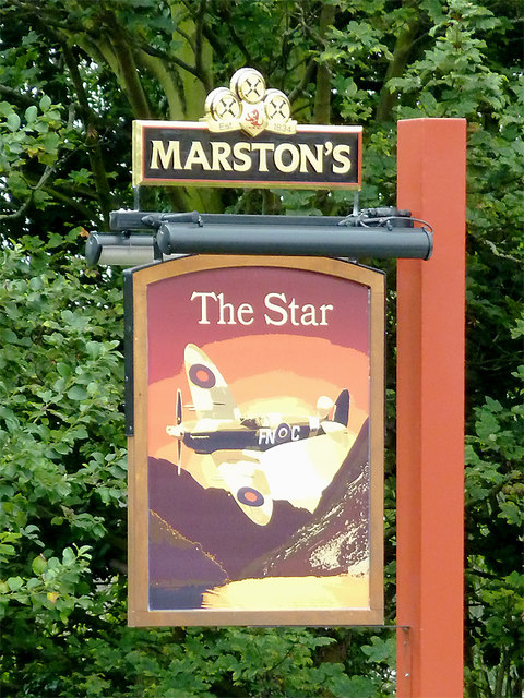 The Star pub sign in Stone, Staffordshire