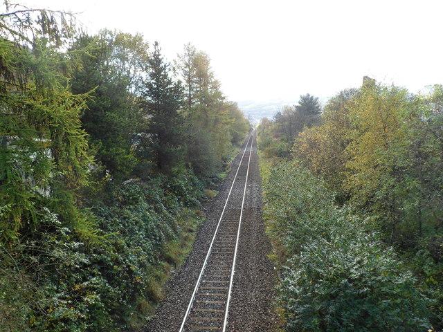 Rhondda Line railway line heads due south, Llwynypia