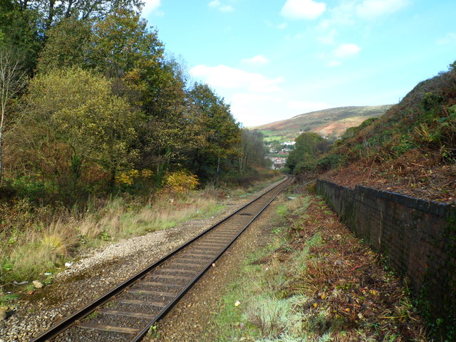 Rhondda Line heads north away from Llwynypia station