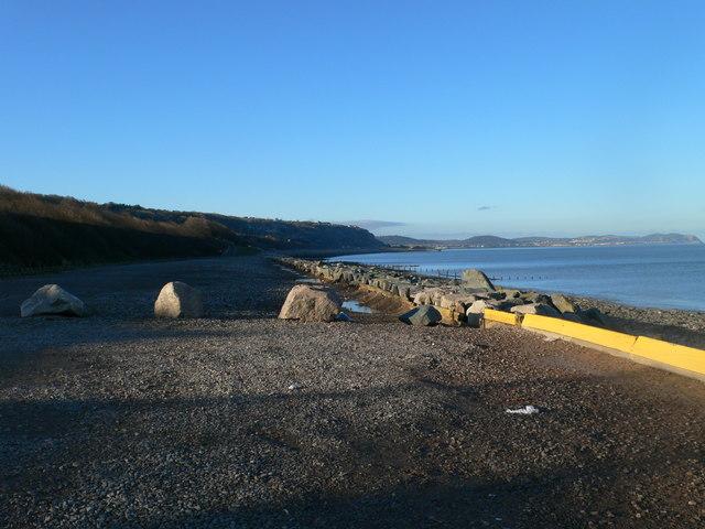 Car park by the sea at Llanddulas