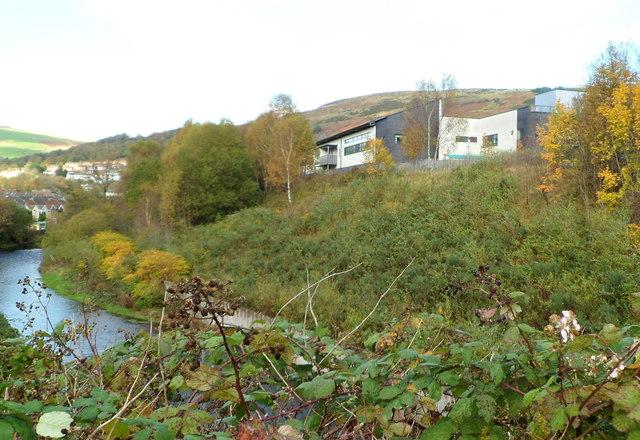 A glimpse of Ysbyty Cwm Rhondda viewed across the Rhondda Fawr river