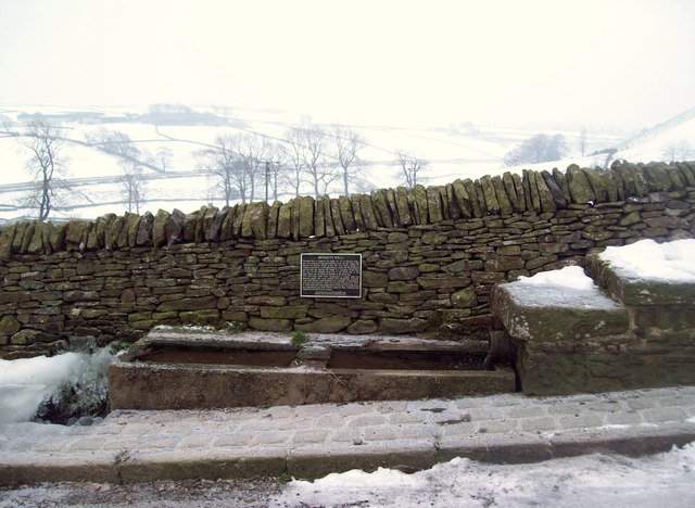 Roadside Water Trough and Plaque near Sparrowpit