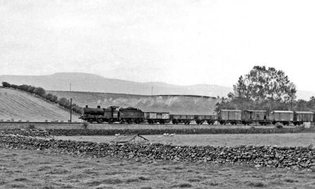 Down freight on Settle - Carlisle line approaching Langwathby