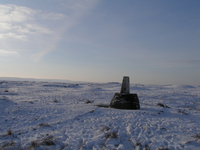Black Hill trig point in the snow