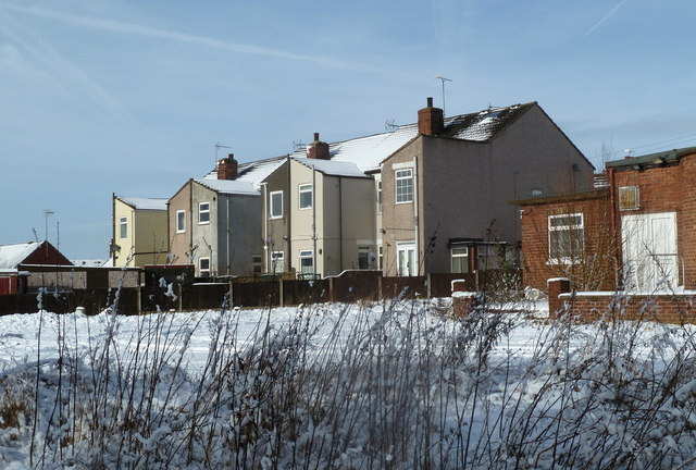 Houses on Sherwood Street on a snowy day