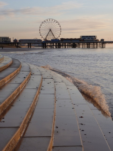 Blackpool: waves against the concrete steps