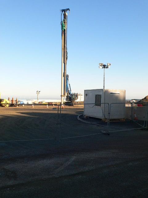 Hydraulic pile driver at work in Colwyn Bay