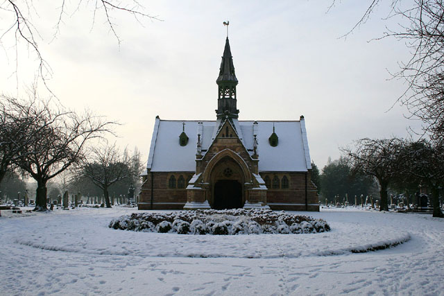The Long Eaton Cemetery Chapel in snow