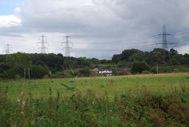Pylons crossing the landscape