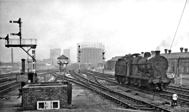 Main lines northward from Saltley station, with 4F 0-6-0 passing