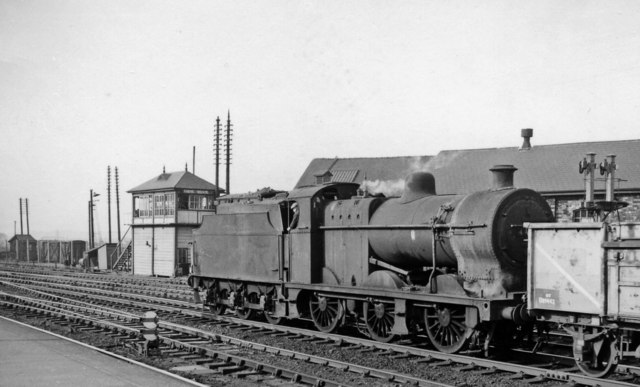 LMS 4F 0-6-0 with self-weighing tender at Derby