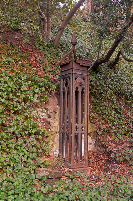 Gate post at entrance to The Rock
