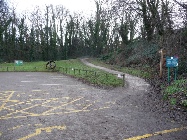 Part of the car park and path at Greenfield Valley Heritage Park