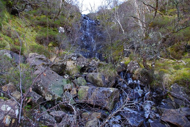 Waterfall dropping into Poll Luachrain, Morvern