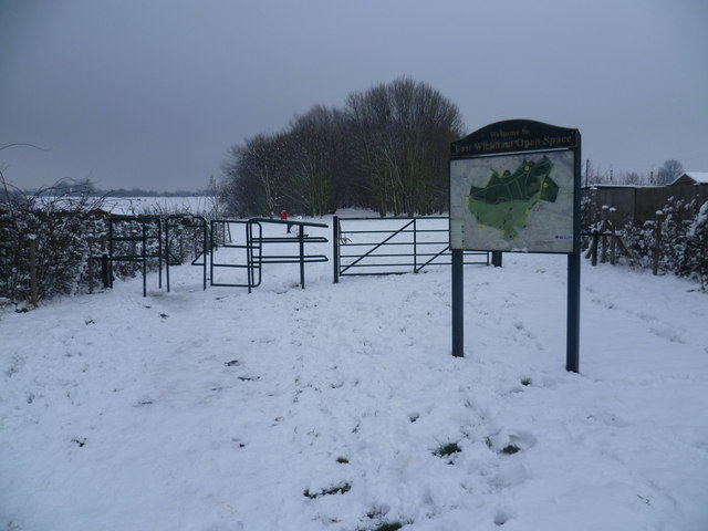 Entrance to East Wickham Open Space after snow