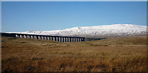 SD7579 : Ribblehead Viaduct and snow-capped Whernside by Karl and Ali