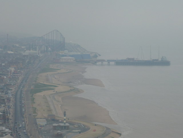 Blackpool: Pleasure Beach and South Pier from the Tower