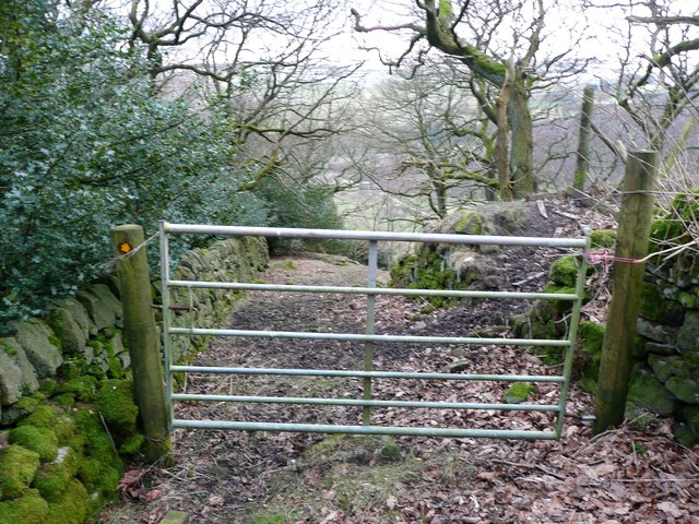 Gate into Sandy Pickle Wood, Cragg Vale