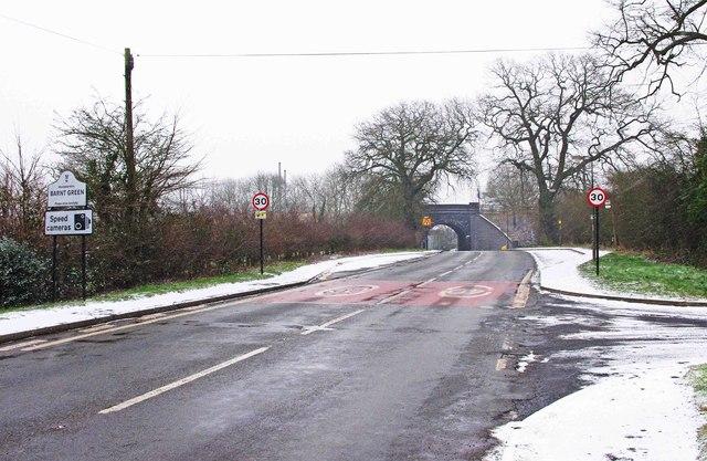 Kendal End Road (B4120) looking towards the railway bridge, Barnt Green