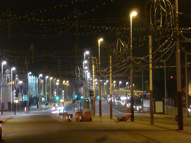 Blackpool: the Illuminations by night (but unlit)