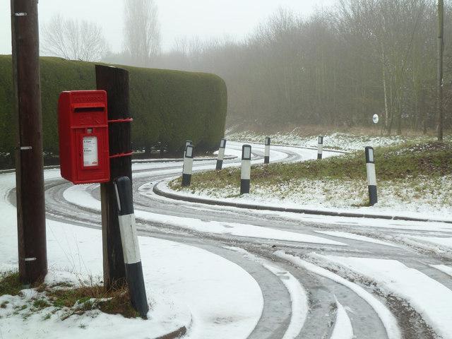 Postbox and snowy lane - Swinesherd