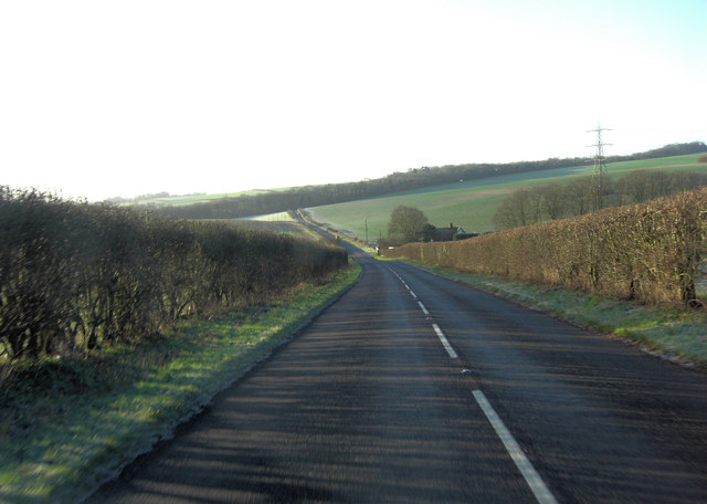 B3051 starts its descent of White Hill