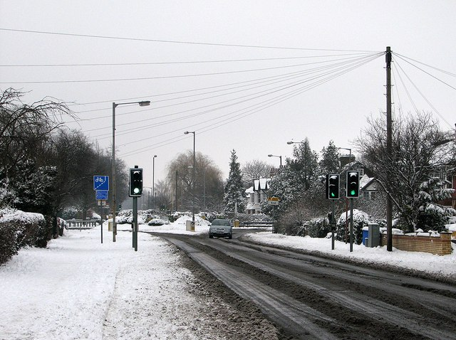 Near Perne Road Roundabout on a snowy morning