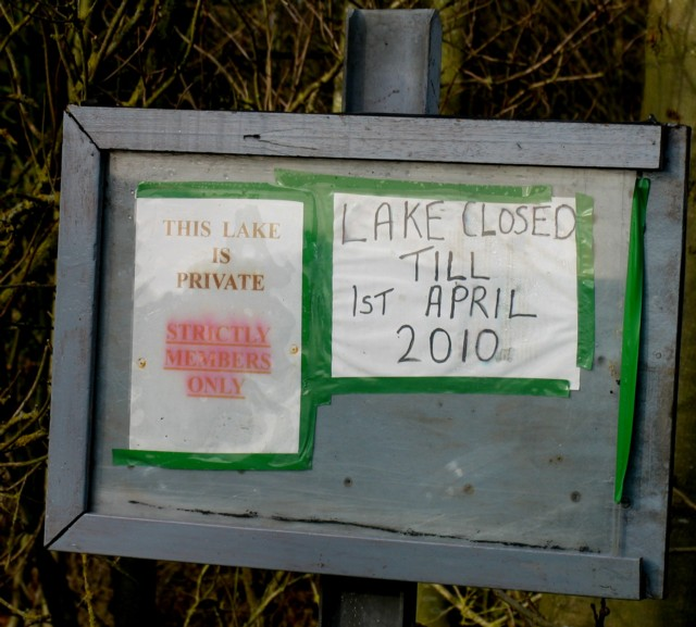 Private fishing notice board