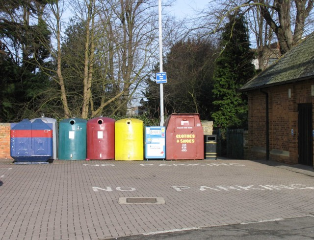 Recycling bins behind the Corn Market Hall