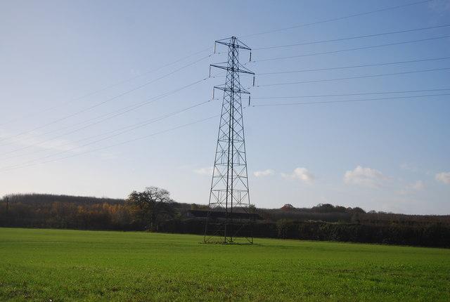 Pylon in a field