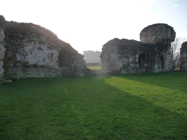Part of the ruined curtain wall at Flint Castle