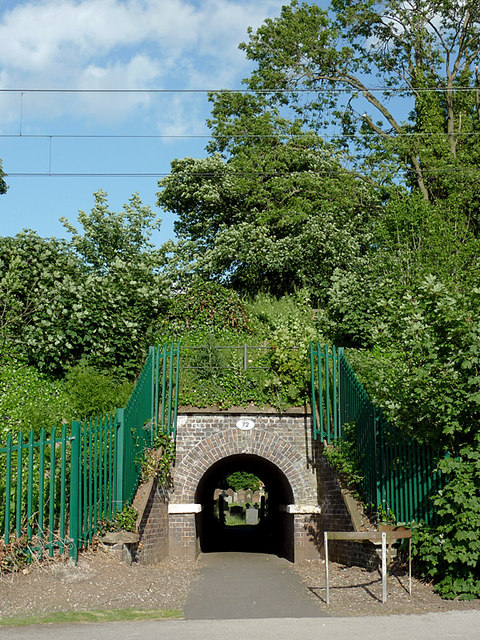 Footpath under the railway at Penkridge, Staffordshire