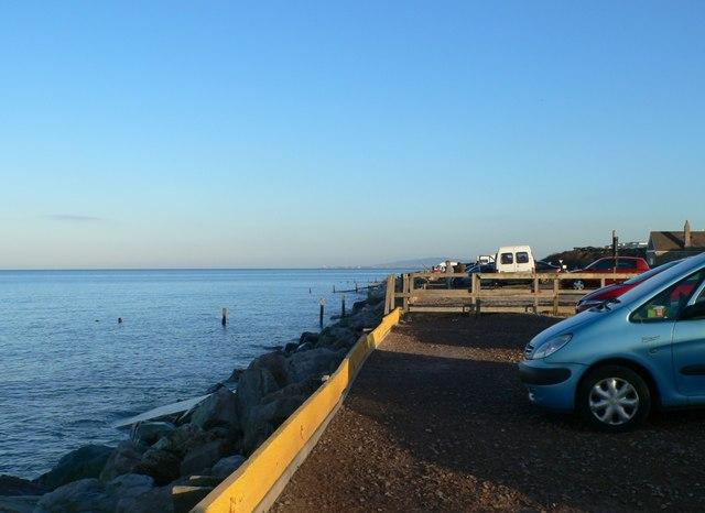 Car park on the beach at Llanddulas