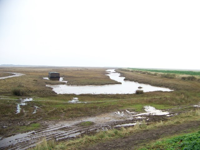 A house boat in the Salt Marshes at Burnham Deepdale, Norfolk