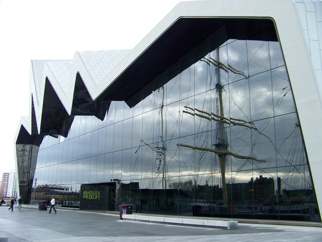 The Riverside Museum, reflecting the Glenlee