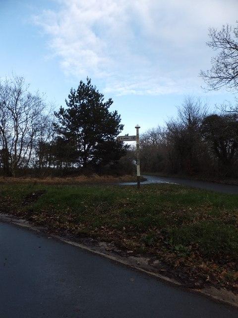 Road junction at Little Haldon