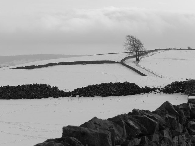 Wintry landscape north of Bakewell