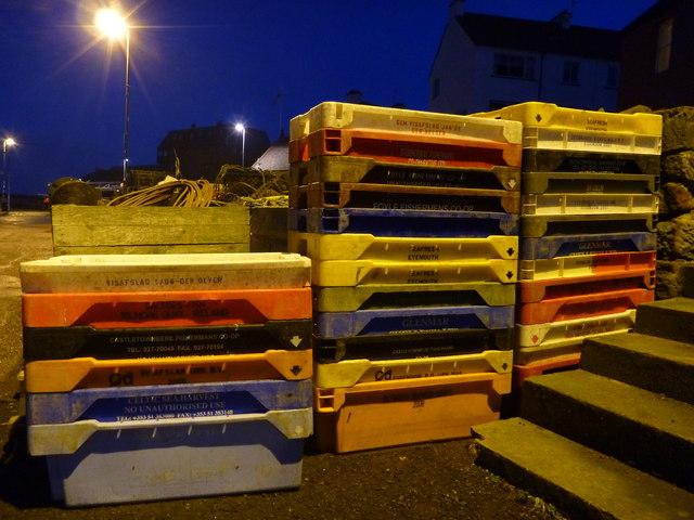 Coastal East Lothian : Fishboxes at Victoria Harbour, Dunbar