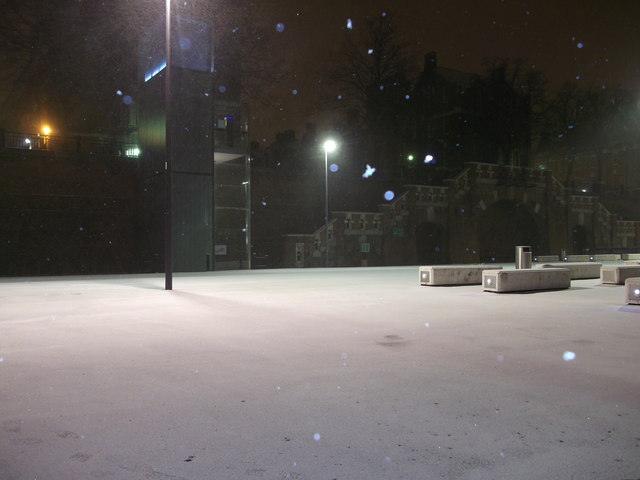 The Drill Hall carpark is covered in snow