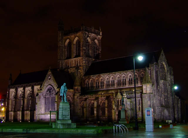 Floodlit Paisley Abbey