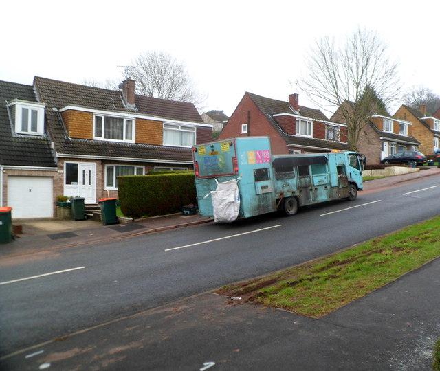 Wastesavers recycling vehicle, Rowan Way, Malpas, Newport